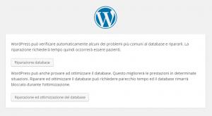 wordpress riparazione database