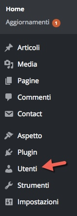 wordpress menu utenti