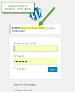 WordPress nome utente sbagliato