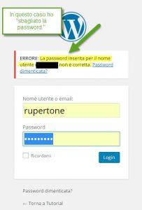 WordPress password sbagliata