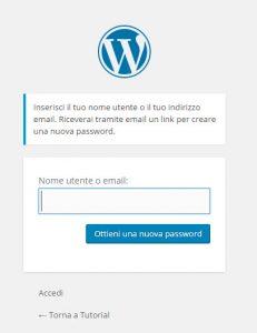 WordPress recupero credenziali